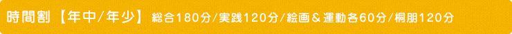 時間割【年中/年少】総合180分/実践120分/絵画&運動各60分/桐朋120分